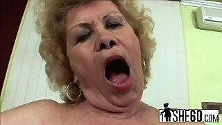 Granny gets down and dirty sucking and fucking