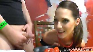 European model showered with sperm and hot golden rain