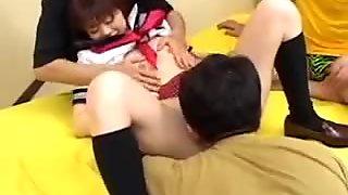 Horny asian schoolgirl in threesome porn