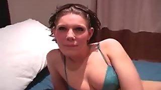 Horny amateur brunette gets ready