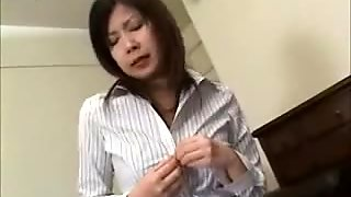 Shy Asian Masturbating In Stockings