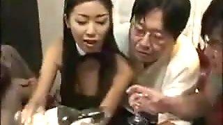 Hot Asian in Bunny Costume Gets Bukkake Gangbanged